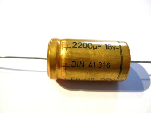 2200uF EG Serie 2200µF Elko 16V 105°,axial ROE Roederstein 2 Stück