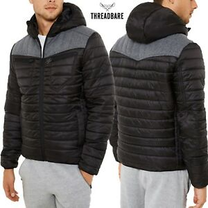 Mens-Threadbare-Padded-Quilted-Hooded-Jacket-Coat-Lightweight-Top-RED-KITE-PUFFA