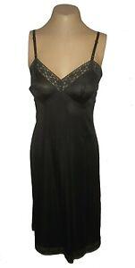 Vintage-1960s-Full-Slip-Vanity-Fair-Black-Lace-Antron-III-Nylon-sexy-34-L