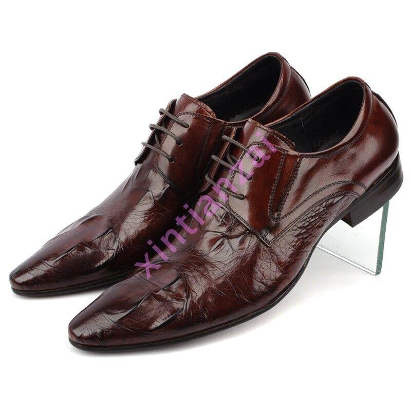Uomo British Alligator Crack Retro Brogue Leather Dress Pointy Toe Laec Up Shoes