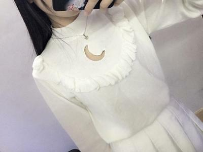 Amo Super Cute Kawaii Hollow Moon Lovely White Sweater Hoodies Chic Harajuku
