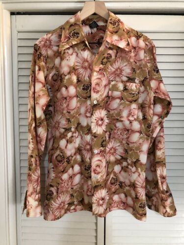 Vtg 60s 70s JOEL California Polyester Shirt Floral