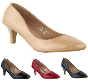 WOMENS PATENT FULL ROUND TOE LOW MID