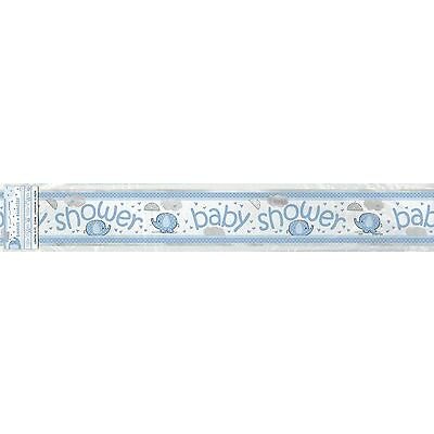 12FT Baby Shower Party Foil Banner Blue Umbrellaphants Party Supplies Boy