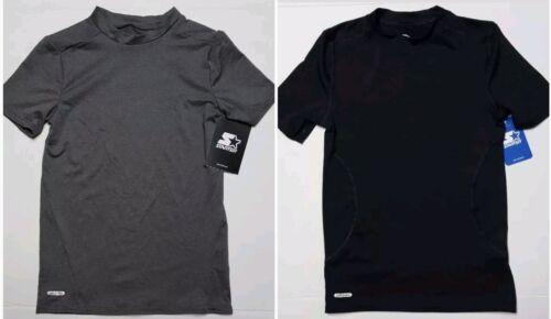 Starter Boys Short Sleeve Mock Neck Black or Gray Compression Dri-Fit Tee S-L