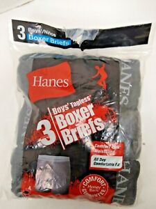 Hanes Boys Boxers Briefs  Small 6-8  Blacks & Gray  New 3 in package