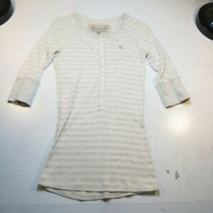 ABERCROMBIE-amp-FITCH-AUTHENTIC-VINTAGE-1-2-BUTTON-THERMAL-TEE-T-SHIRT-Sz-Girls-L