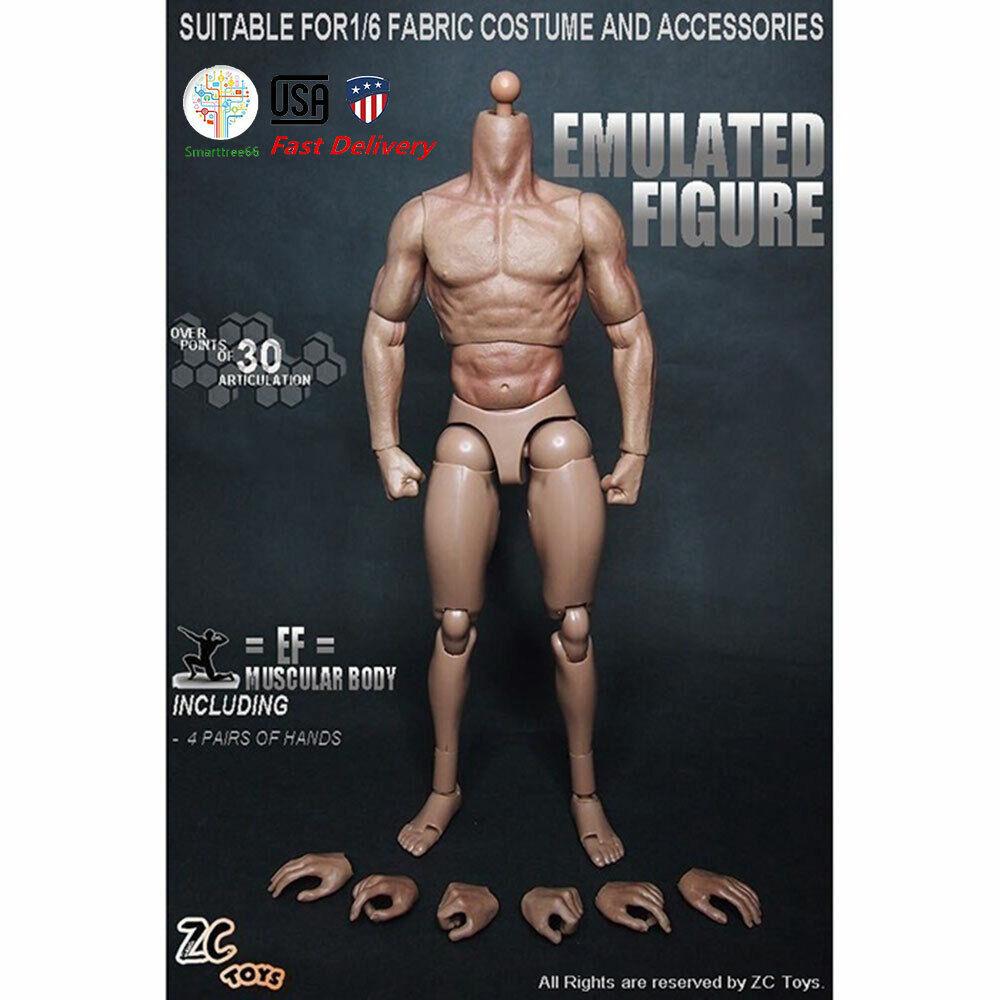 """US 1//6 Scale 12/"""" Zc Toys Model Toy Nude Male Muscular Figure Body HT Headsculpt"""