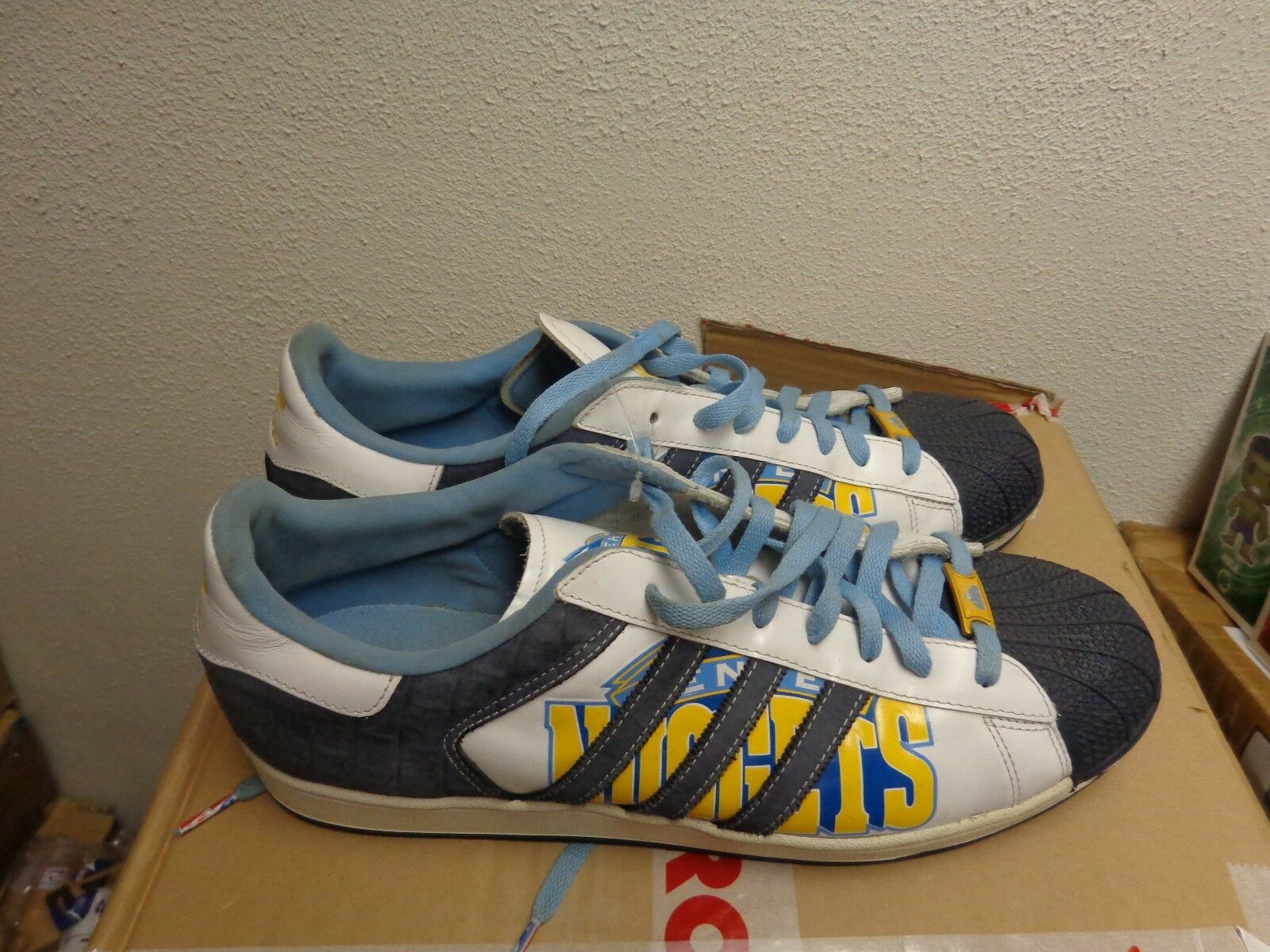 8ecb601b899a chic ADIDAS SUPERSTAR 1 NBA SERIES DENVER NUGGETS 14 BASKETBALL SHOES NEW