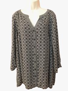 NEW Avenue Women's Blouse Plus 22/24 3/4 Sleeve V-Neck Button Down Shirt