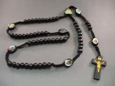 Rosary Necklace Wood Beads Crucifix Macrame Accent w Saint Images BLACK L@@K Wow