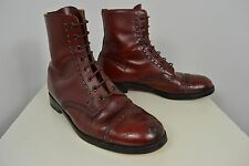 VINTAGE 1960's BROGUES LEATHER BOOTS OXBLOOD ENGLISH MADE MEN'S SIZE 9