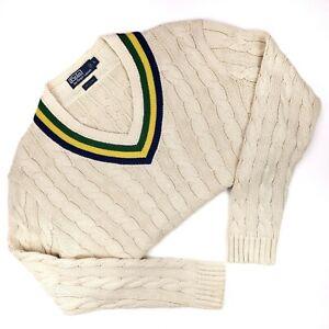 Polo-Ralph-Lauren-Tennis-Sweater-Large-Beige-Cotton-Stripes-L-Mens-Size-Cricket