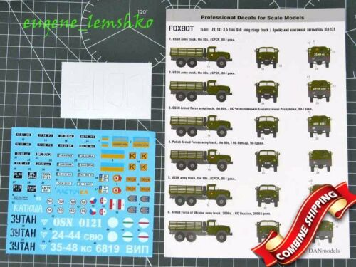 Foxbot 35-001 Decals with Masks for Zil-131 3,5 Tons 6x6 Army Cargo Truck 1/35