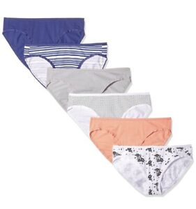 AMAZON-ESSENTIALS-6Pk-Womens-Cotton-Stretch-Bikini-Brief-Panties-Sz-S-Multicolor