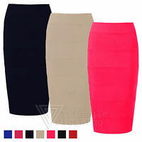 Ladies Womens New Pencil Skirt Bodycon Fitted Zip Ribbed Feather Casual Office