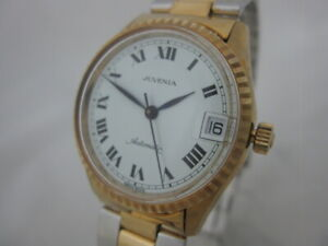 NOS NEW SWISS VINTAGE STAINLESS ST AUTOMATIC MENS ANALOG JUVENIA WATCH DATE
