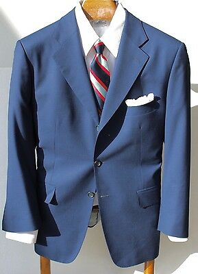 Bespoke 42R Blue 3-Button Jacket - Scabal Savile Row Cloth - Surgeon's Cuffs
