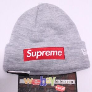 e84f4e14 Details about Supreme x New Era New York Box Logo Gray Red White Logo  Beanie Hat FW18BN59 New