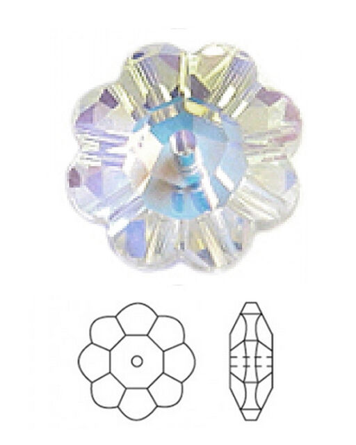 2 SWAROVSKI DAISY MARGUERITE LOCHROSE FLOWER SPACER BEADS, CRYSTAL AB, 6 MM