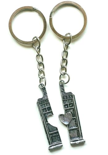 Details about  /2pc Doctor Who Tardis Keychain Couples Key Ring BFF Key Chain New