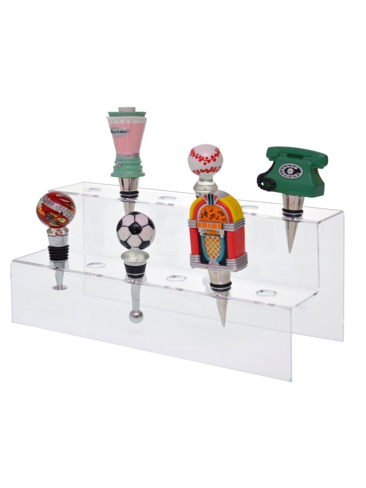 Lote De 6 acrylic12 Bolsillo Mostrador Vino Botella Tapón de estante de exhibición de soporte