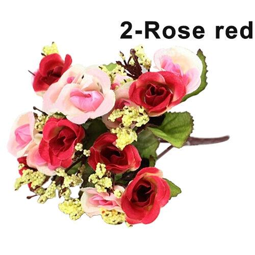 15 Heads Artificial Rose Silk Fake Flower Leaf Home Wedding Decor Bridal Bouquet