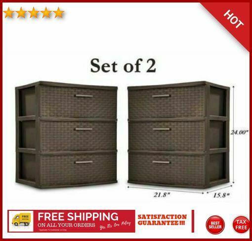 Details About 2 Sets Of 3 Drawer Organizer Storage Cabinet Wide Dresser Chest Dorm Home Office