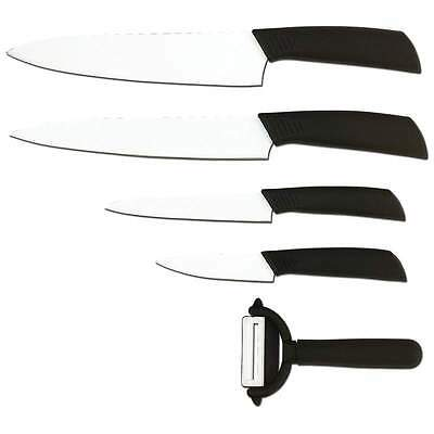 Slitzer 5pc Ceramic Coated Cutlery Knife Set Chefs Paring Utility Carving Peeler