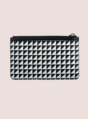 PROENZA SCHOULER White Triangle Print Leather Medium Pouch NEW