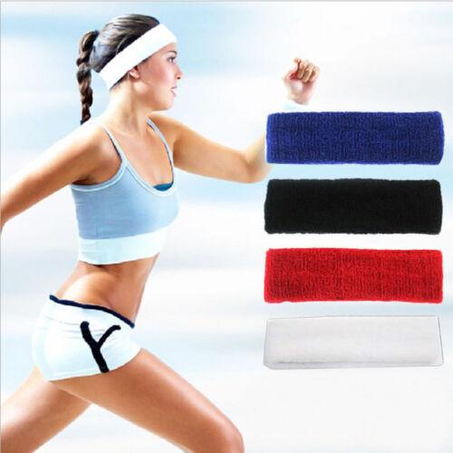 Women Men Sport Sweat Sweatband Cotton Headband Yoga Gym Stretch Head Hair Band