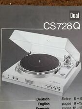"""Dual CS728Q Turntable """"Original"""" Owners Manual 2 to 3 Pages of English"""