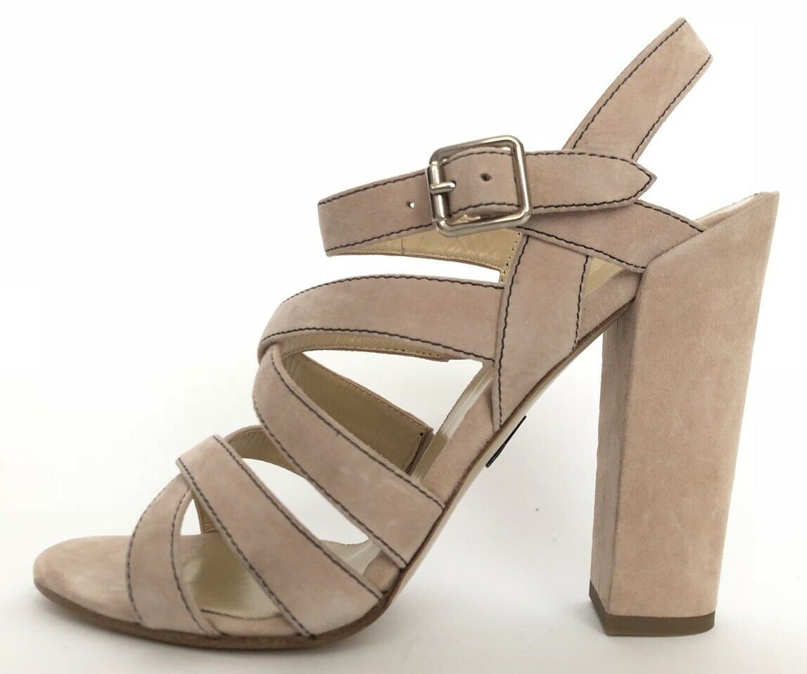 Paul Andrew Donna Shoes Size 37.5 NIB Heels Sandals Nude Suede