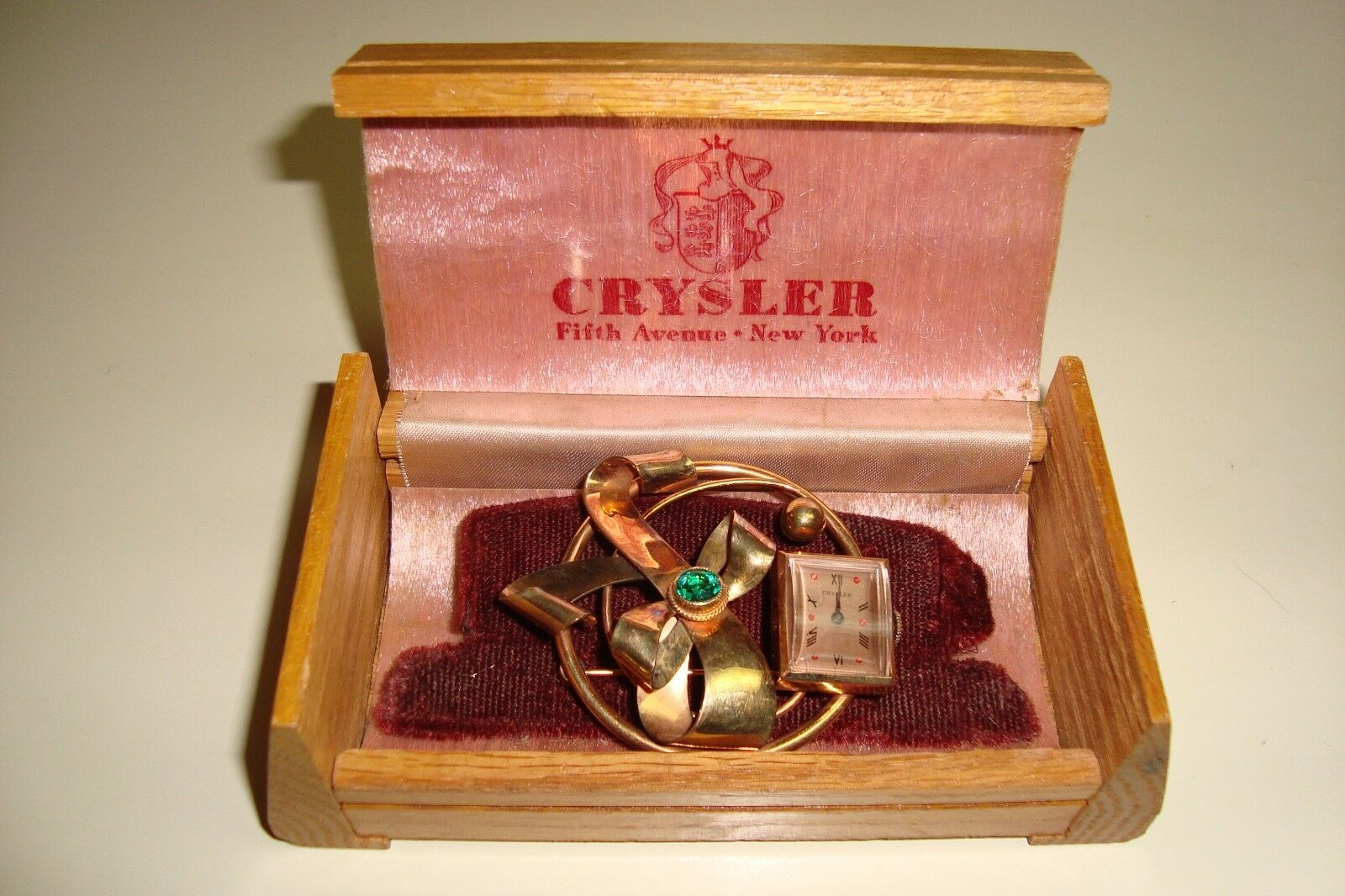 CRYSLER 5th Ave NYAntique Art Deco 12K GF Watch Pin SIGNED BOX1930-40s RARE