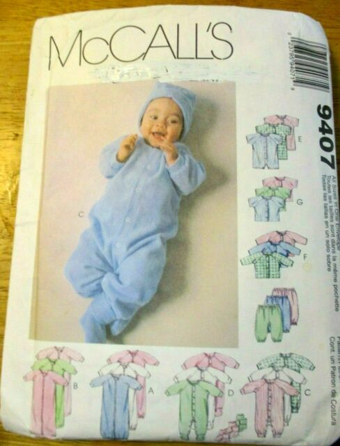 McCALL'S SEWING PATTERN NO. 9407 BABIES Wardrobe SIZE PREMATURE TO 16 LBS.