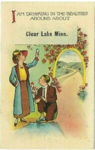 Antique-Post-Cards-c-1910-Minn-Clear-Lake-Drinking-In-The-Beauties