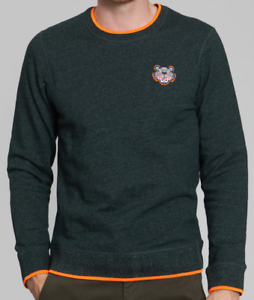052fa074 Image is loading Kenzo-Embroidered-Tiger-Sweatshirt-with-Orange-Highlights- Pine-
