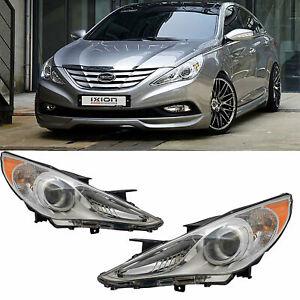FOR 2011-2014 Hyundai Sonata Right & Left Chrome Housing Amber Corner Headlight