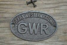 Cast Iron /'GWR/' Plaque Black Sign Door Great Western Railway Vintage Style #BD25
