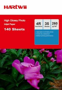 140 Sheet 6x4 260Gsm High Glossy Photo Paper Inkjet 102x152 4x6 A6 UK Hartwii 876169334085