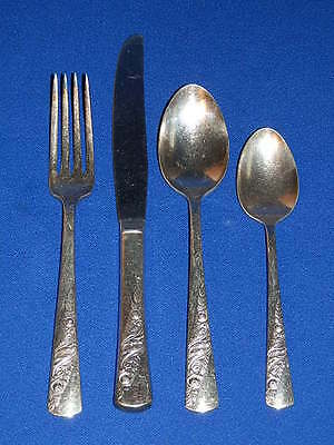 Forks and Knives Vintage 1947 Wallace Sonata SIlver Plate Stainless Steel Flatware Silverware including Spoons