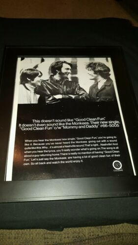 The Monkees Good Clean Fun Rare Original Promo Poster Ad Framed!