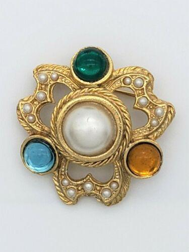 Vintage Rhinestone Faux Pearl Cabochon Brooch Pin… - image 1