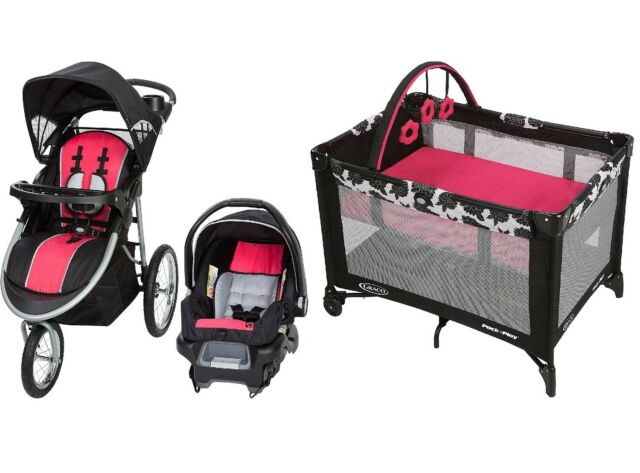 Baby Stroller Car Seat 3in1 Travel System Infant Buggy Carriage Bassinet Pink