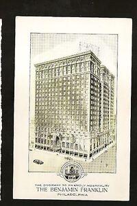 Vtg-1950-039-s-Postcard-1951-THE-BENJAMIN-FRANKLIN-HOTEL-Philadelphia-Pa