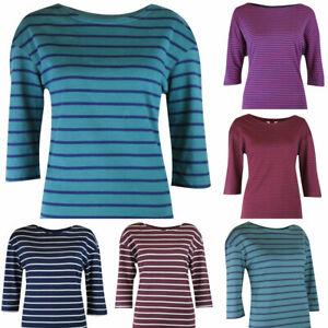 Womens-Breton-Salcombe-Navy-White-Pink-Green-Stripe-Jersey-Cotton-Top