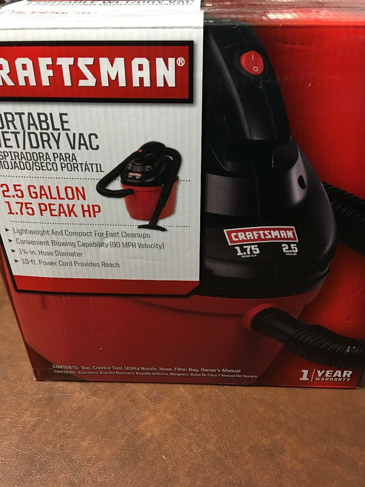 CRAFTSMAN 17611 2.5 Gallon 1.75 Peak HP Wet Dry Vac, Portable Shop Vacuum wit...