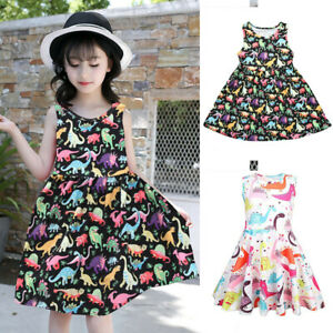 Toddler-Baby-Girl-Summer-Cartoon-Print-Vest-Sleeveless-Dress-Outfit-Kids-Clothes
