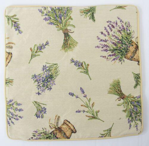 Lavender Flower Design Tapestry Cushion Filled Signare