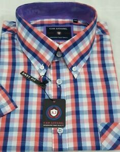Mens-Kam-Short-Sleeve-Shirt-Big-Tall-Casual-button-down-check-Checked-checkered